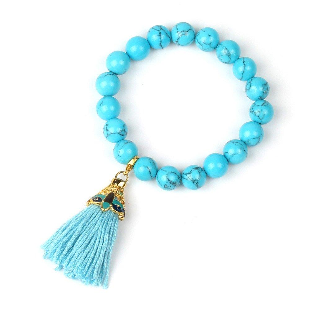 Shinus Womens Mala Beads Chakra Bracelet Tassel Handmade Bohemia Turquoise Stone Gold Tone Charm Energy Jewelry