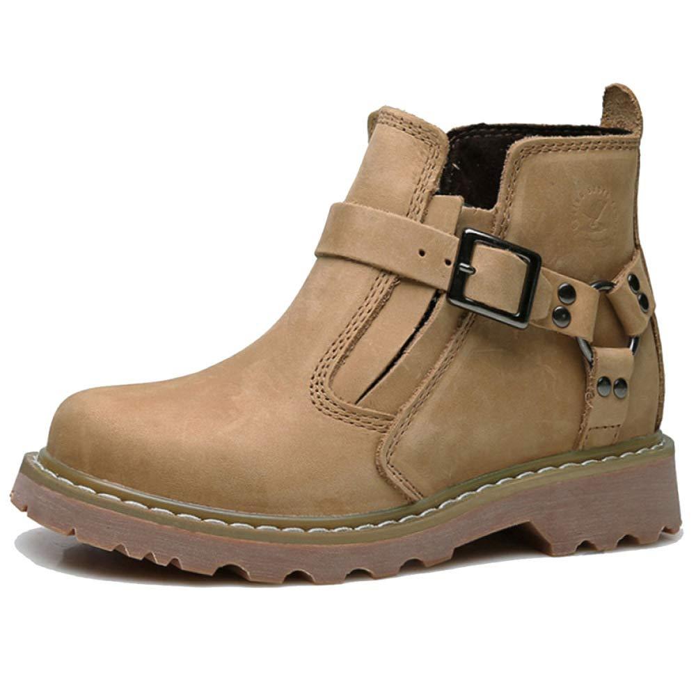 GZZ Schuhe Herren Stiefel Martin Outdoor Retro Wandern Werkzeug Leder Stiefel Herbst Und Winter Rutschfeste Mode,Light-braun-42