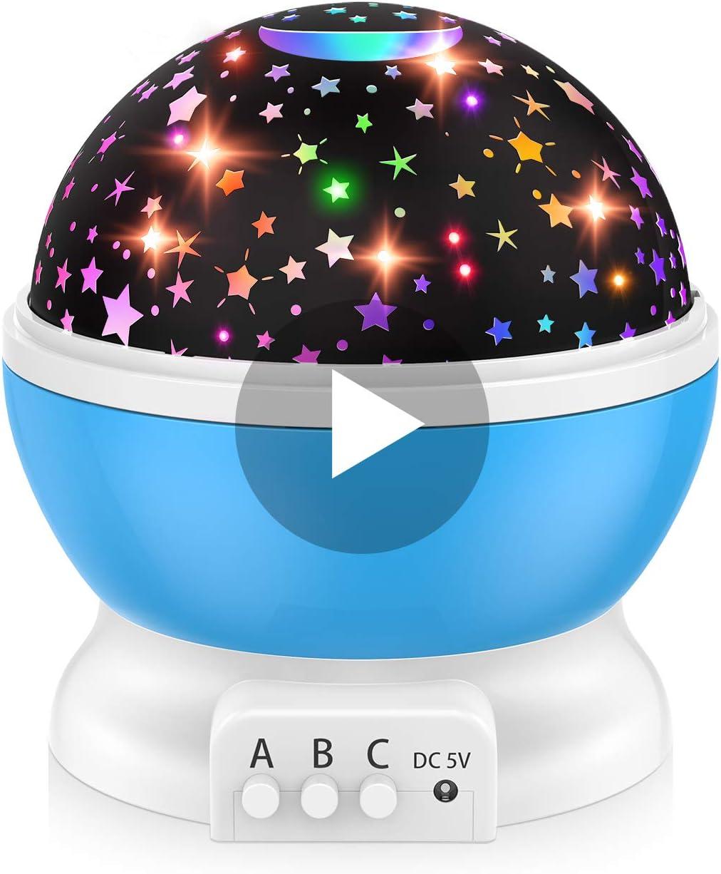 Dreamingbox Proyector Estrellas Bebe Lampara Infantil - Regalos & Juguetes Giratorio de 360 Grados Tres Modos