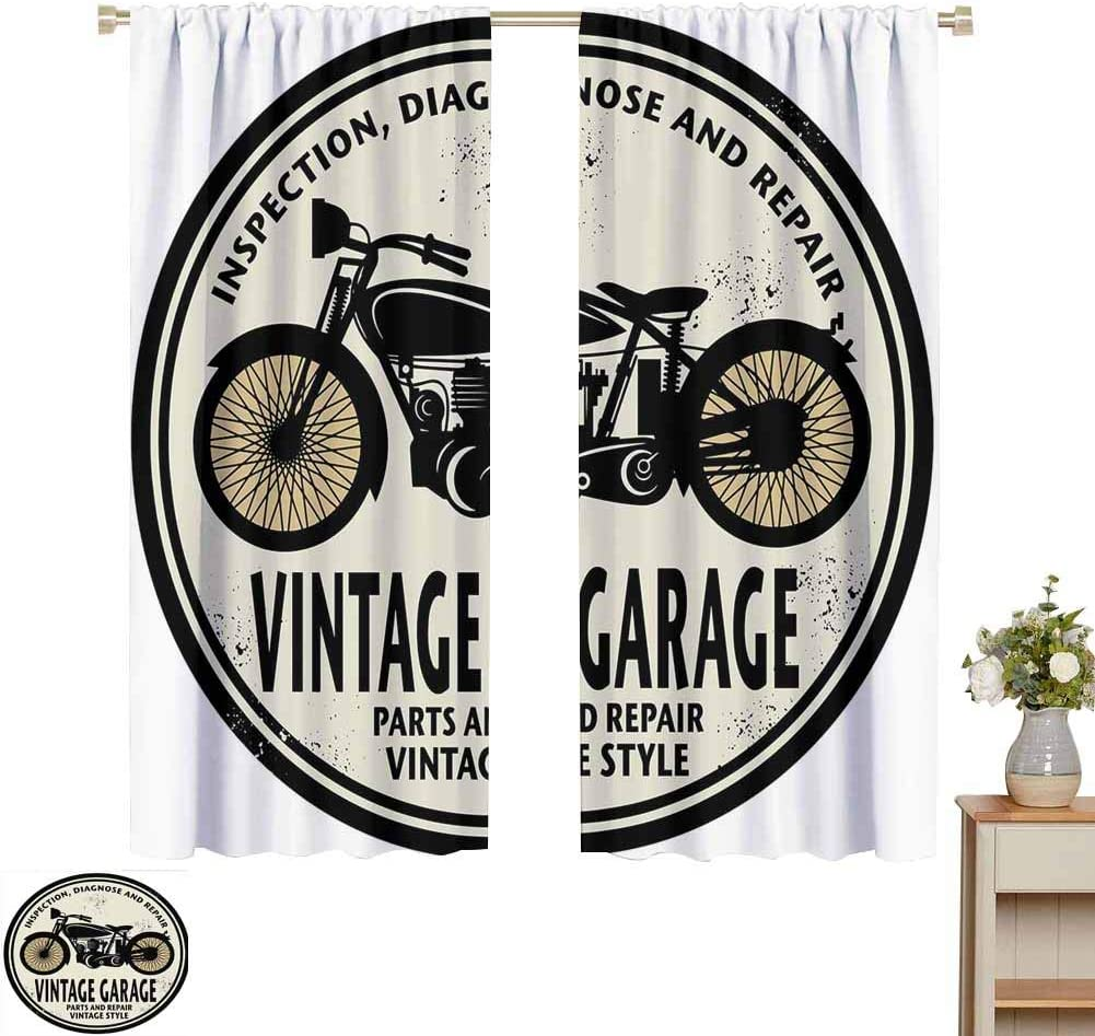 "white curtains Man Cave,Grunge Retro Rubber Stamp Vintage Style Garage Custom Motorcycle Repair Art Print,Beige Black,Decor Collection Thermal/Room Darkening Window Curtains 120""W x 96""L"