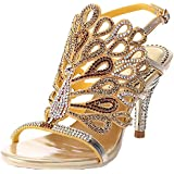 bed5db062b81 LizForm Peacock Pattern Crystal Stud Sandal Luxurious Ankle Strap Wedding  High Heels Gold 9
