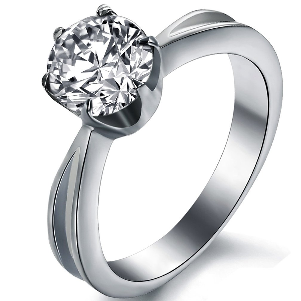 SAINTHERO Women's Solitaire Wedding Rings 2 CT Round Brilliant CZ Diamond Engagement Bridal Bands Eternity Promise Rings for Her Size 7