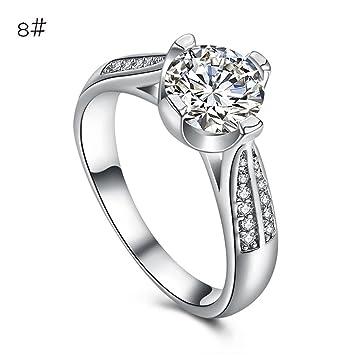 fheaven mujeres flores de cristal anillos de boda joyería accesorios oro rosa anillo de compromiso regalo