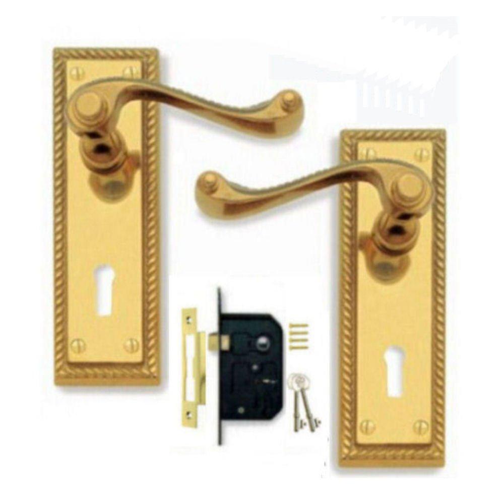 Georgian Polished Brass Door Handle Lever Lock Pack + 3 Lever Lock (2 Keys) Discount Hardware UK 33100Lock
