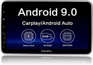 "Dasaita 10.2"" Android 9.0 Car Radio Universal Single Din Wireless Carplay Stereo GPS Navigation Head Unit Multimedia Music Video Player Hexa Core 4G 64G PX6 IPS Screen DSP Fast Boot Android Auto"