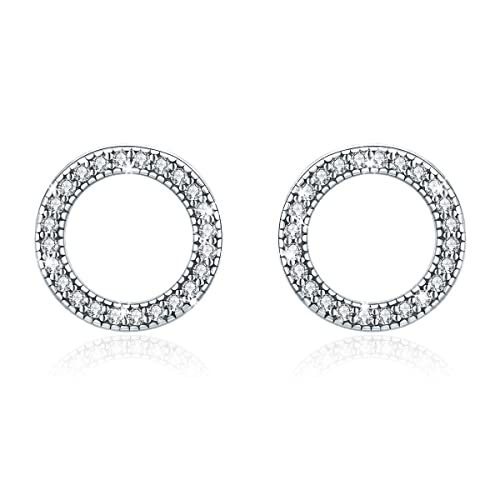 151389083 WOSTU Open Circle Stud Earring 925 Sterling Silver Cubic Zirconia Earrings  Women Girls Disc Stud Earrings