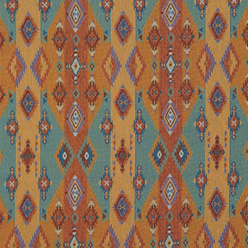 J9600G Bright Southwestern Stripes and Diamonds Woven Decorative Novelty Upholstery Fabric by The Yard ()