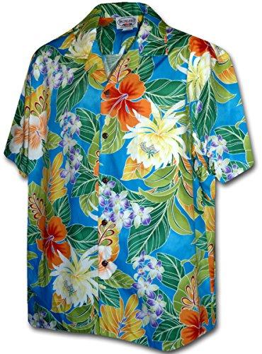 [Tropical Floral Cereus Plumeria Hibiscus Hawaiian Shirt (XL, Blue)] (Hibiscus Blue Aloha Shirt)