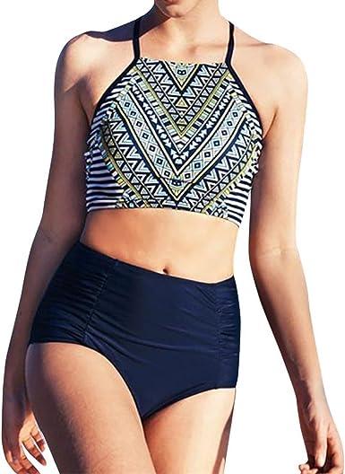 Women Boho Floral High Waist Tankini Set Crop Top Swimsuit Swimwear Bathing Suit