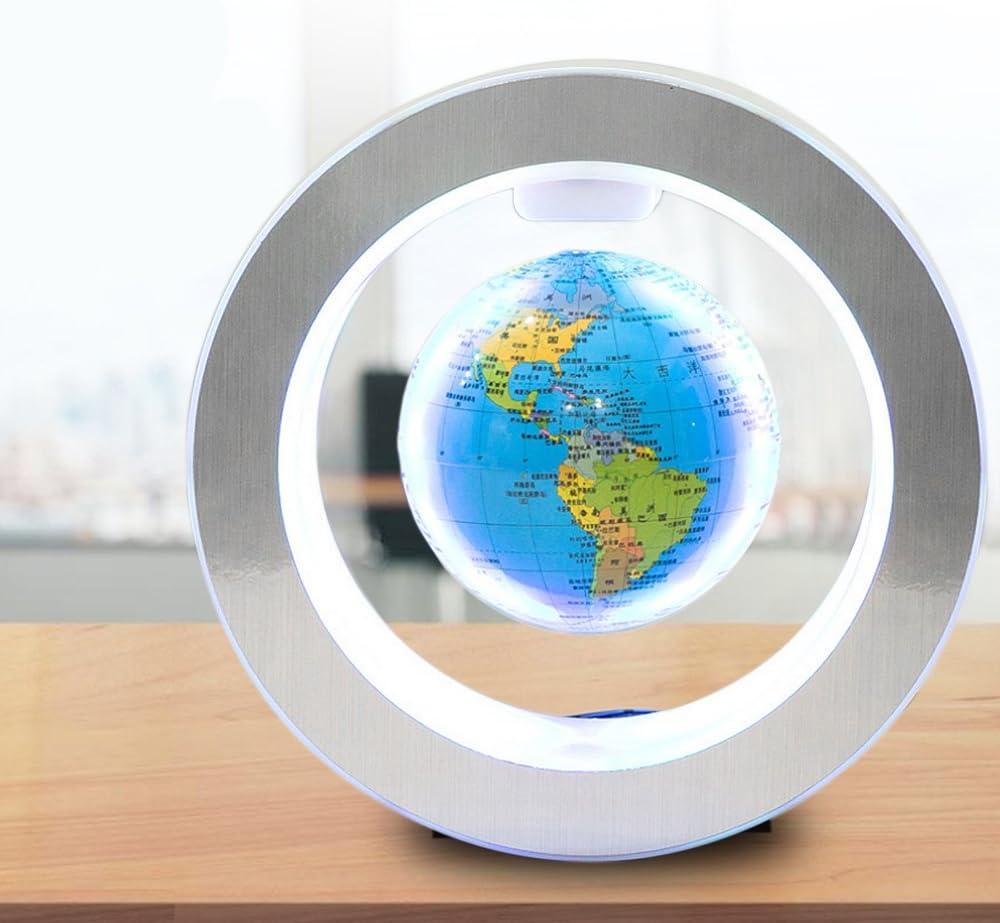 Bleu UE Plug /®Beetest L/évitation Magn/étique Globe flottant avec LED C Forme Base Rotating Plan/ète Terre Globe Pour Bureau D/écoration De No/ël Cadeau Danniversaire