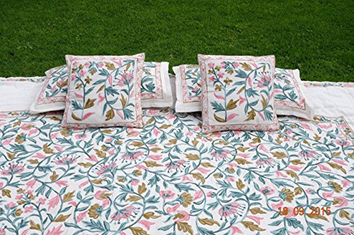 Christmas gift Embroidered Full/Double size bedspread with matching pillow cases by Pamposh