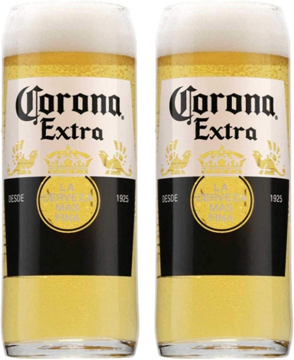 Corona - Juego de 2 vasos de cristal para pinta extra de 20 oz