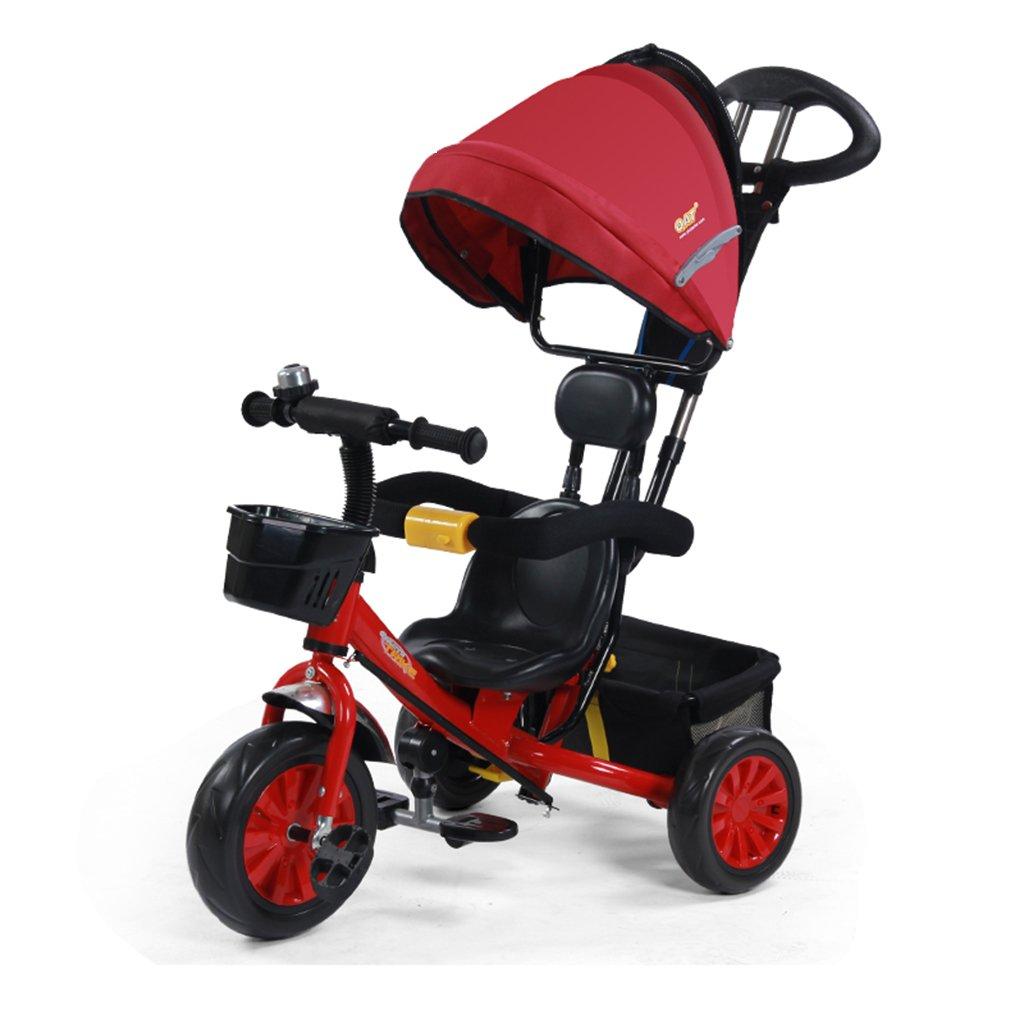 HAIZHEN マウンテンバイク 子供の三輪車は、鐘のトロリーでダブルプッシュロッドフォームホイールを調整します。1-5歳は、日除けの自転車を調節します。自転車85 * 50 * 100cm 新生児 B07DL9N9RX 赤 赤