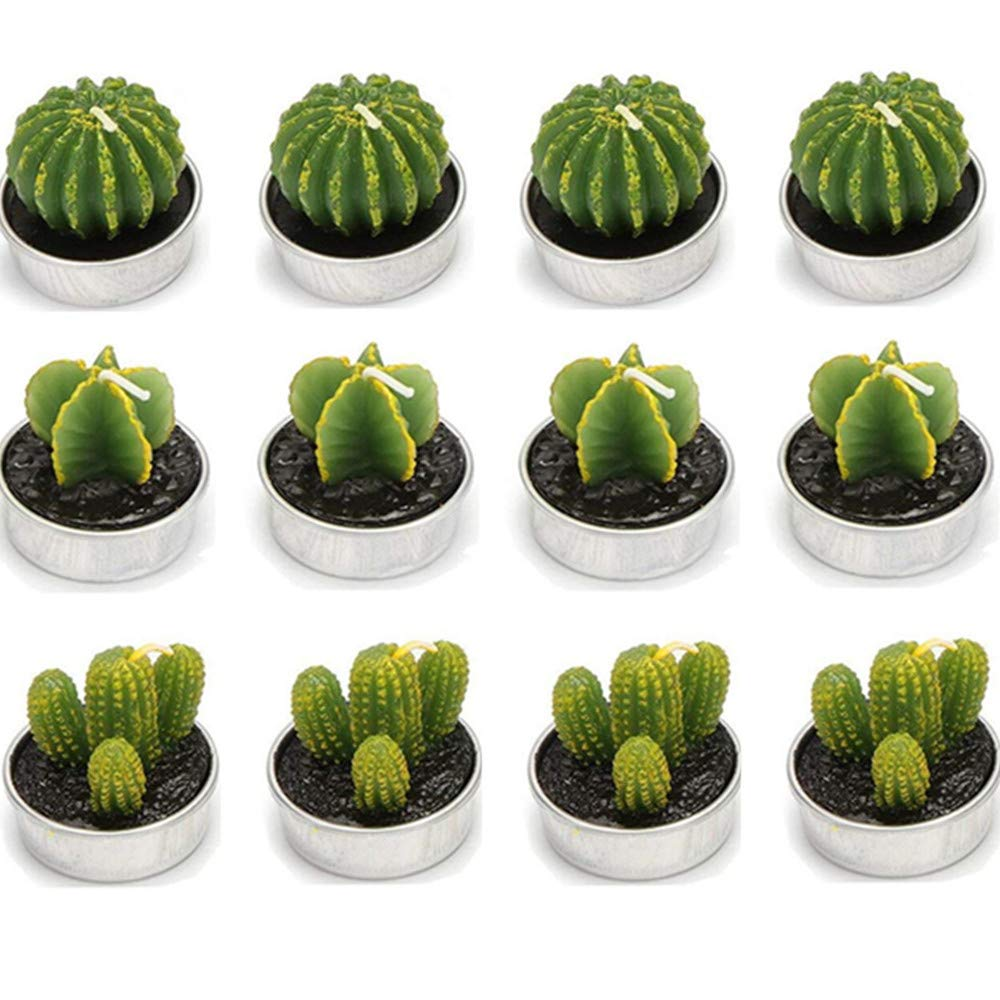 UUsave 12 Pcs Cactus Tealight Candles Decor Handmade Delicate Succulent Cactus Candles for Valentine's day Birthday Party Wedding Spa Living Room Home Decoration (12)