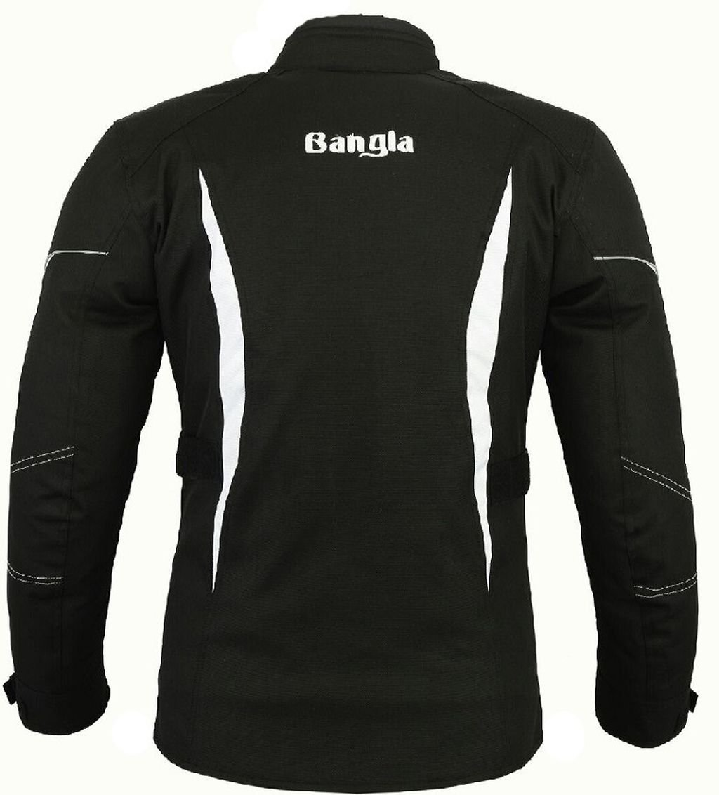 Bangla Sportliche Damen Motorradjacke Touren Jacke Textil B-104 Schwarz weiss L