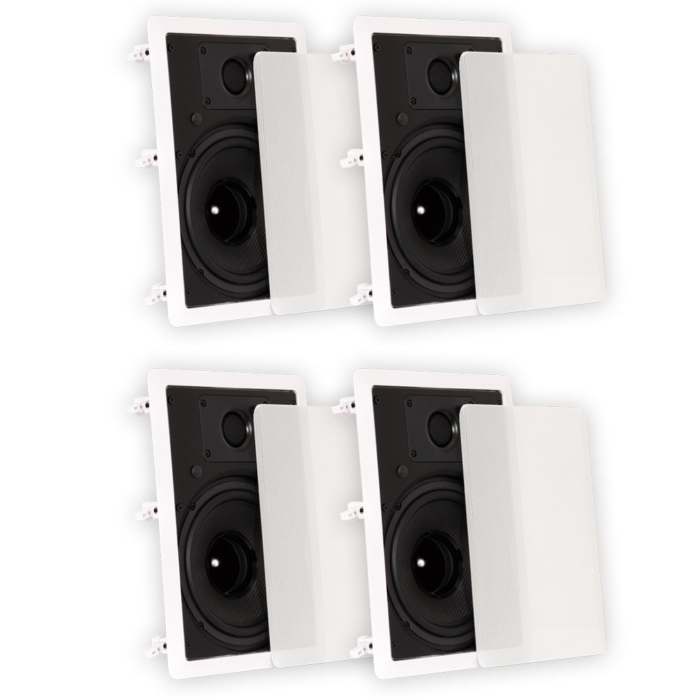 Theater Solutions TS80W In Wall 8'' Speakers Surround Sound Home Theater 2 Pair Pack by Theater Solutions