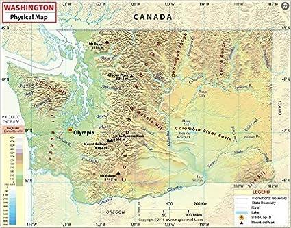Canada Cartina Fisica.Mappa Fisica Di Washington 91 4 Cm Di Larghezza X 55 9 Cm Di Altezza Amazon It Cancelleria E Prodotti Per Ufficio