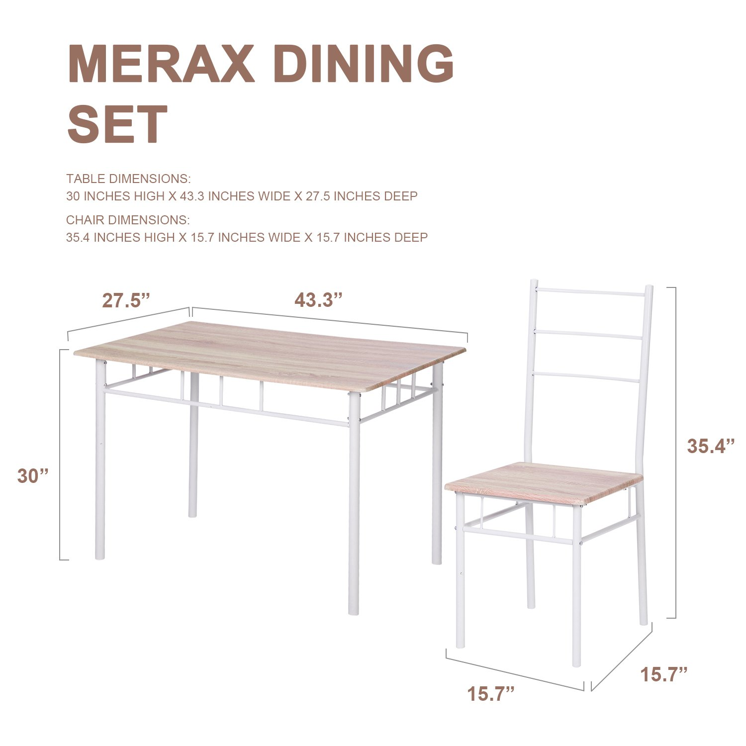 High Quality Amazon.com   Merax 5 Pcs Wood And Metal Dining Set Table And 4 Chairs Home  Kitchen Modern FurniturexFF08;NaturalxFF09;   Table U0026 Chair Sets