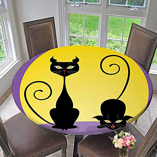 Mikihome Round Premium Table Cloth Two Black Kitties in Front of Full Moon Starry Night Halloween Image Violet Perfect for Indoor, Outdoor 59