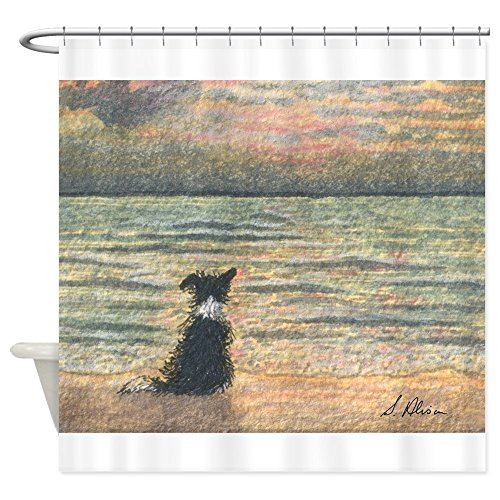 CafePress A Border Collie Dog Says Hello to The Morning Show Decorative Fabric Shower Curtain - Border Collie Show