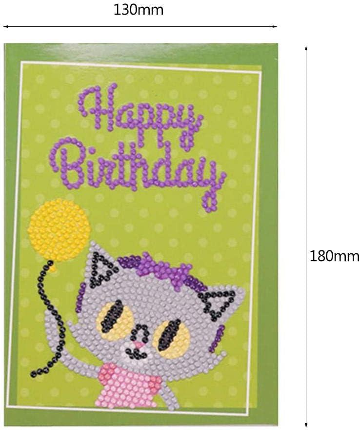 Cute Animal Kids DIY Happy Birthday Greeting Cards Diamond Painting Gifts Craft