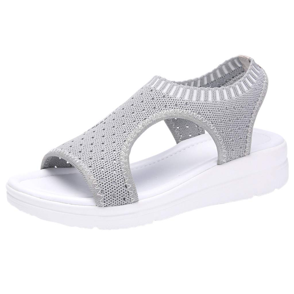 Sunhusing Ladies Open Toe Fish Mouth Breathable Wedge Woven Casual Sandals High Waterproof Platform Beach Shoes Gray by Sunhusing