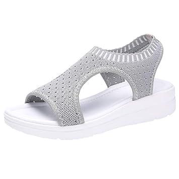 Makefortune 2019 Damen Sandalen, Frauen Zehentrenner Sandalen Damenmode Slip On High Heel Peep Toe Kristall Slipper Casual Sandalen Schuhe Flip Flops
