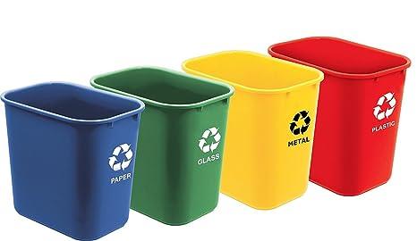 Acrimet Papelera Reciclaje Tamaño 27QT / 24L (4 Unidades) (Azul, Verde, Amarillo y Rojo)