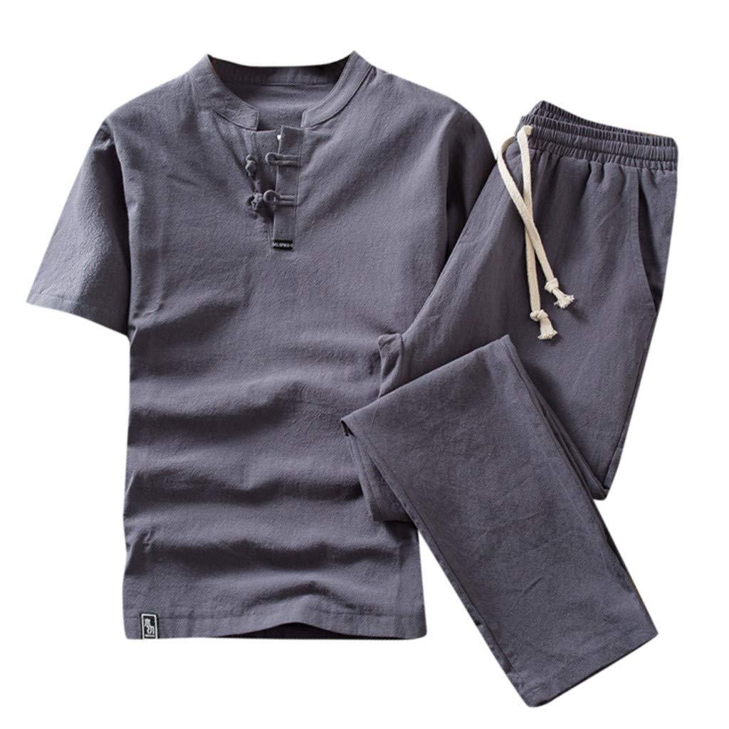 Runyue Uomo Taglia Larga Stile Giapponese Manica Corta T-Shirt in Lino Pantaloni Tuta Sportiva
