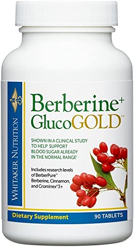 Dr. Whitaker's Berberine GlucoGold Supplement for Clinically Validated Blood Sugar and Cholesterol Support with Berberine, Crominex 3 Chromium, and Cinnamon 90 Tablets
