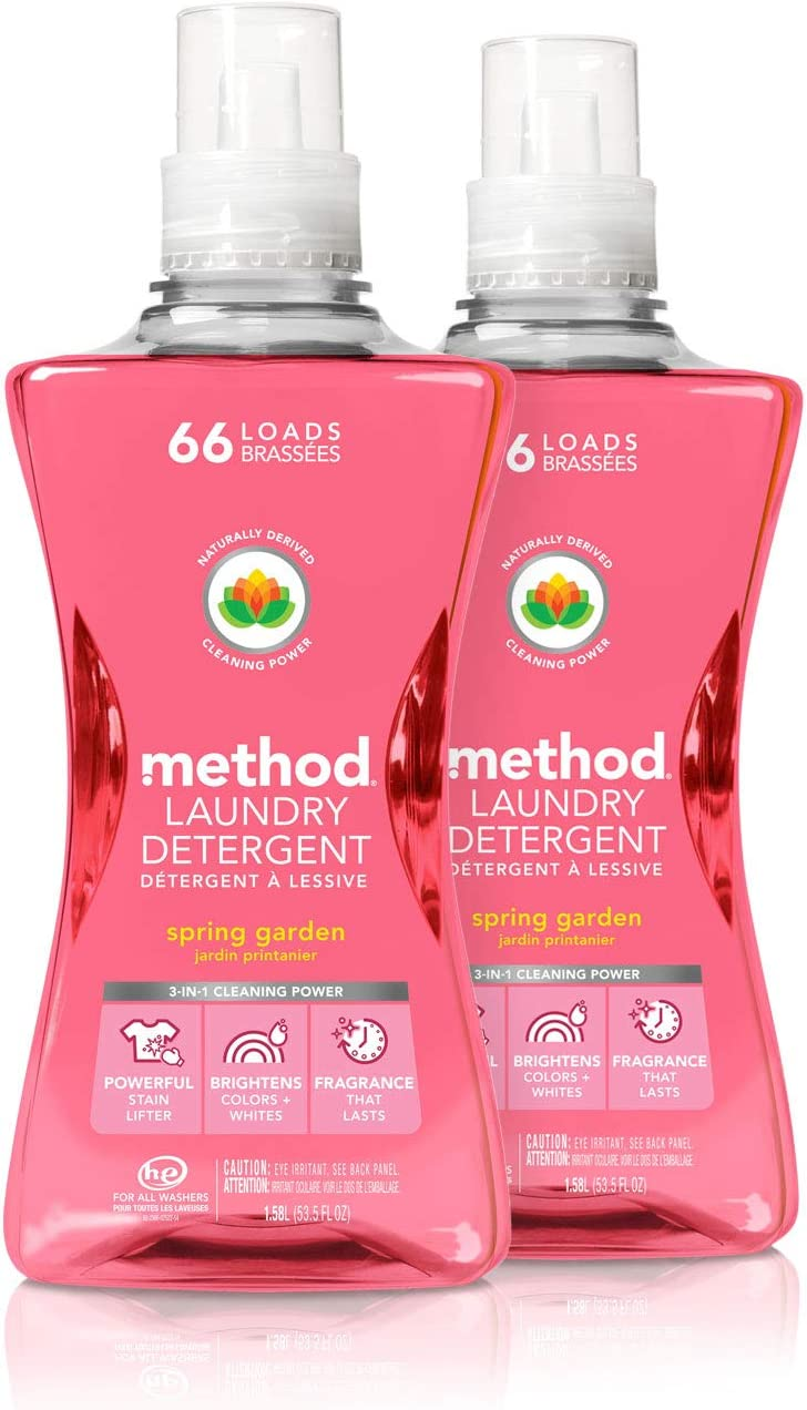 Method Laundry Detergent, Spring Garden, 53.5 Ounces, 66 Loads, 2 pack, Packaging May Vary
