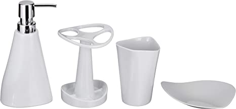 Amazon Basics 4 Piece Bathroom Accessories Set Smooth White Home Kitchen