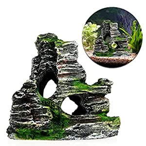Stebcece Mountain View Rockery Hiding Cave Tree Aquarium Fish Tank Ornament Decoration