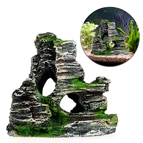 Delight eShop Mountain View Aquarium Rockery Hiding Cave Tree Fish Tank Ornament Decoration