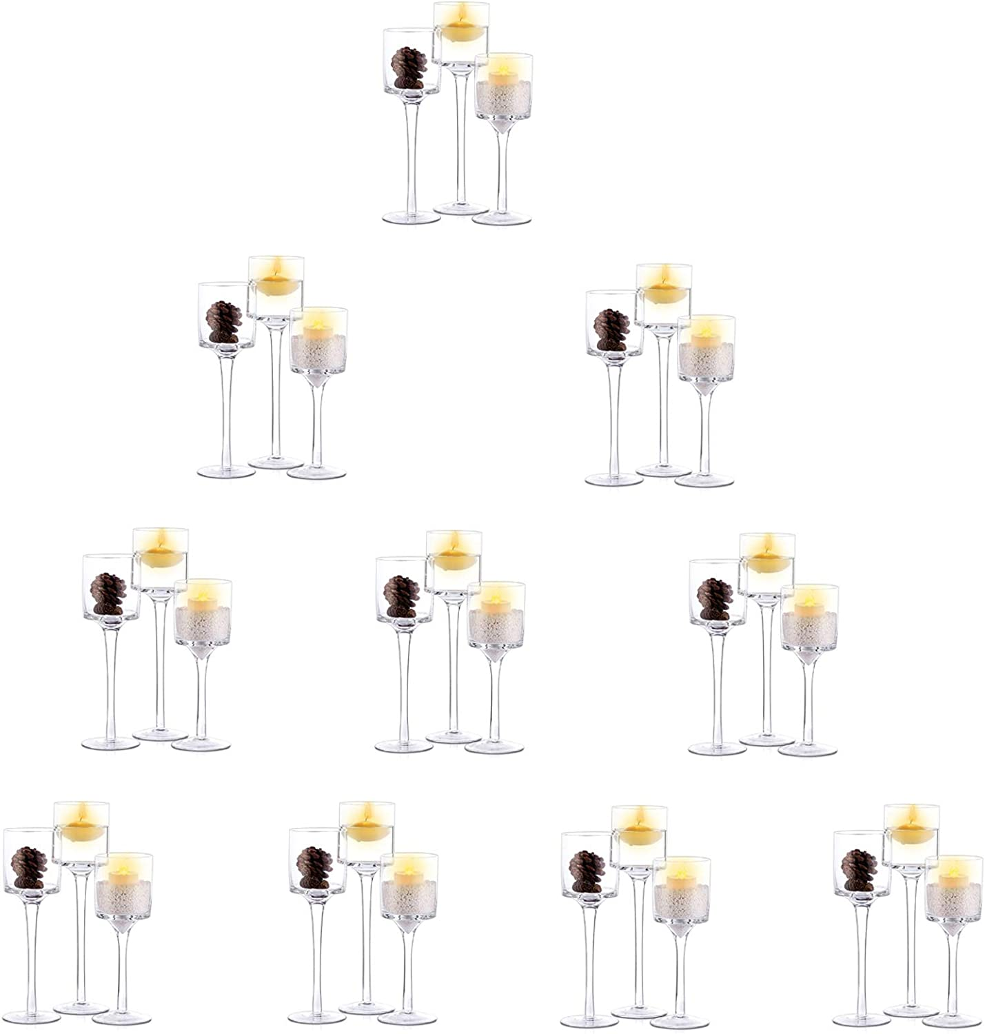 Nuptio 10 Sets (30 Pcs) Candlestick & Tealight Candle Holders, Tall Elegant Glass Stylish Design, Ideal for Weddings, Home Decor, Parties, Table Settings & Gifts