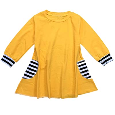 90755546b iumei Baby Girls Dresses Cotton Stripe Long Sleeves Casual Dress Skirts  Spring Clothes