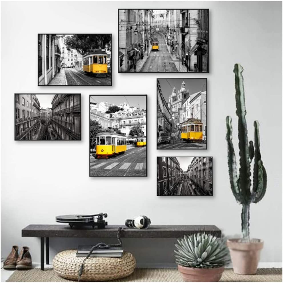 XuFan Portugal Lisbon Historic Architectural Black White Wall Pictures Decor Old Street Yellow Tram Canvas Painting40X60cm50X70cm/60X80cmx6pcs-No Frame
