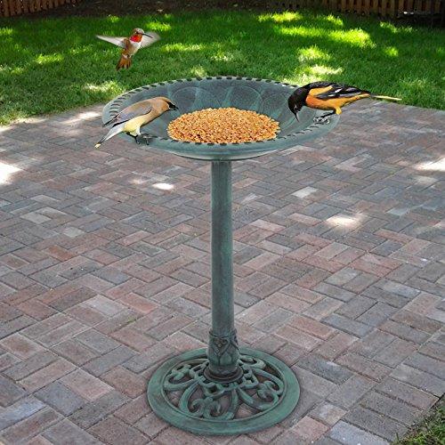 Bird Feeder Birdbath (Pedestal Bird Bath, Antique Bowl Birdbath with Stand Backyard Garden Décor Feeders,Green Rustic (Green))