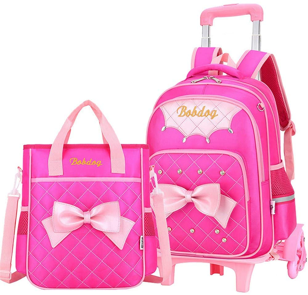 Bansusu Bowknot Princess Style 2Pcs Primary Girls Wheeled Preschool Backpack Carry On Luggage Elementary Trolley Rolling School Backpack Set with Lunch Bag