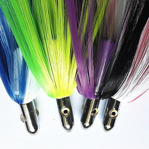 Krazywolf Skirted Hair Teasers Stripe Chromed Brass Head Trolling Fishing Lure,2&3.6oz,6.5″&9″