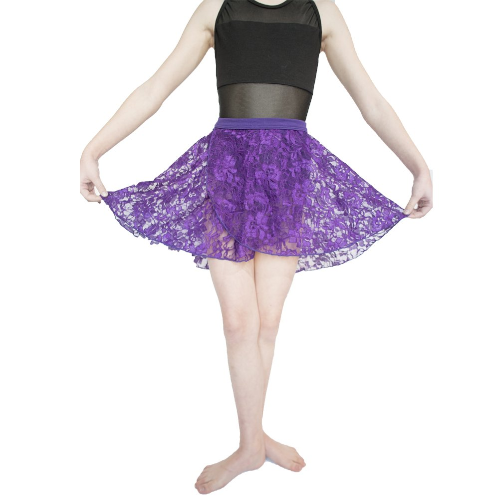 HDW DANCE Lace Dance Wrap Skirts for Women and Kids Cotton Waistband (Purple-Children) by HDW DANCE