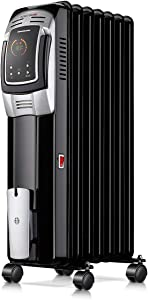 Homeleader 1500W Oil Heater, Full Room Space Heater with LED Display Screen, 24-Hour Timer and Remote Control, Electric Oil Filled Radiator Heater, Black