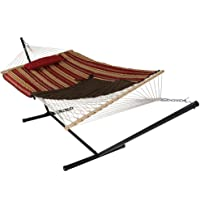 Sunnydaze Rope Hammock Combo with Stand, Pad and Pillow - Style Options Available