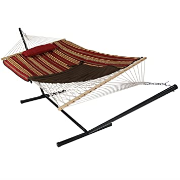 sunnydaze awning stripe cotton rope hammock with 12 foot steel stand pad and pillow amazon     sunnydaze awning stripe cotton rope hammock with 12      rh   amazon