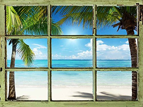 Window View Wall Mural Clear Tropical Ocean and Palm Trees Vintage Style Wall Decor Peel and Stick Adhesive Vinyl Material