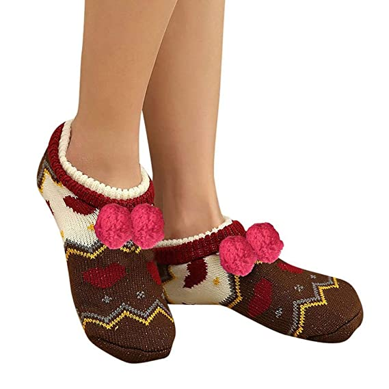 VJGOAL Moda casual para mujer Suave botines del piso Calcetines Calcetines de piso para dormir Engrosamiento antideslizante más terciopelo Mantener cálidos ...