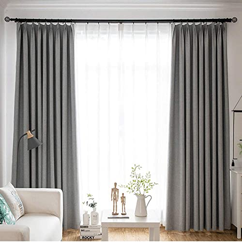 HaveProm Curtains 96 inch Length Blackout-Pinch Pleat Solid Window Treatment Thermal Insulated Blackout Room Darkening Curtains Drapes for Bedroom,Grey,1 Panel