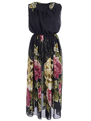 Anna-Kaci S/M Fit Black Loose Fit Large Floral Print Sheer Overlay Maxi Dress