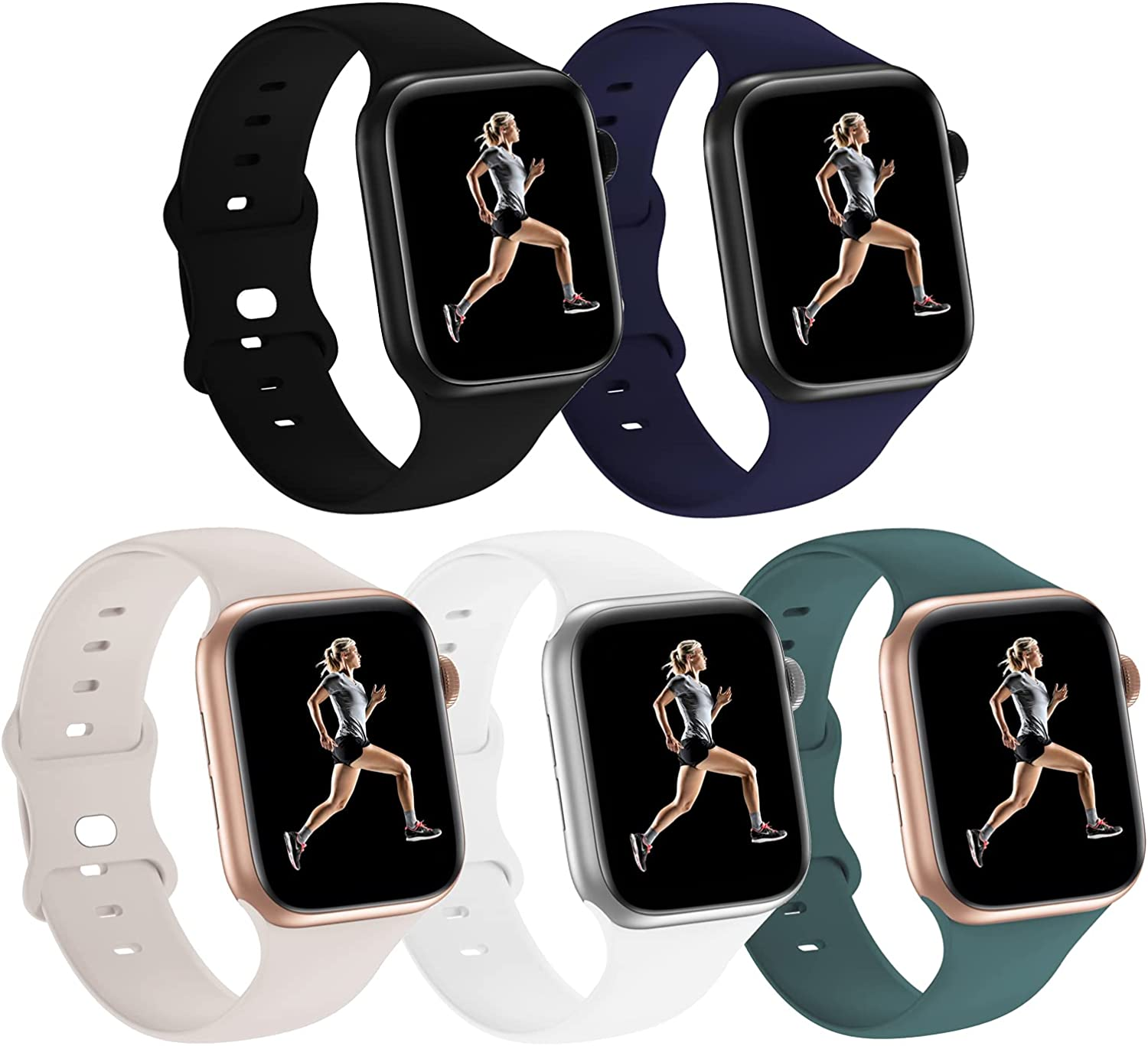 5 Pack Sport Bands Compatible with Apple Watch Band 38mm 40mm 42mm 44mm Women Men, Silicone wristbands strap Replacment for iwatch SE/Series 6/5/4/3/2/1