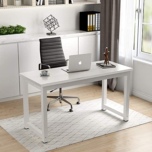 Homesailing Modern I Shape Office Computer PC Desk Table White Writing Study Desk Workstation Wood for Home Furniture Large 42